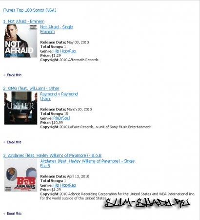 Not afraid на 1# в чарте iTunes